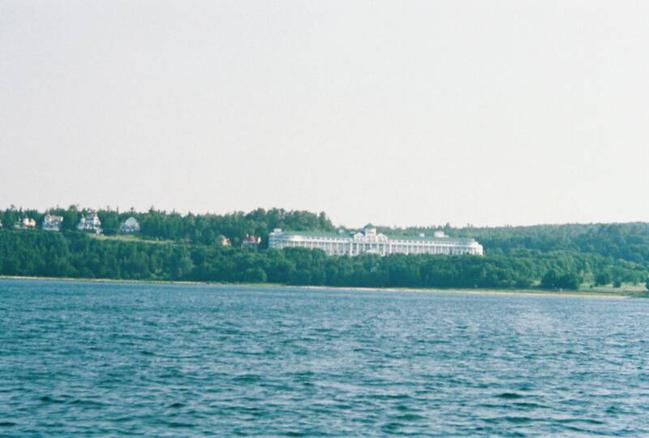 A view of the Hotel from the HydroPlane Boat ride to the Island